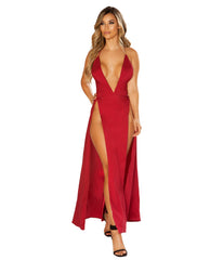 Maxi Length Burgundy Satin Dress with High Slits-club wear-Roma Costume-red-small-Nakees
