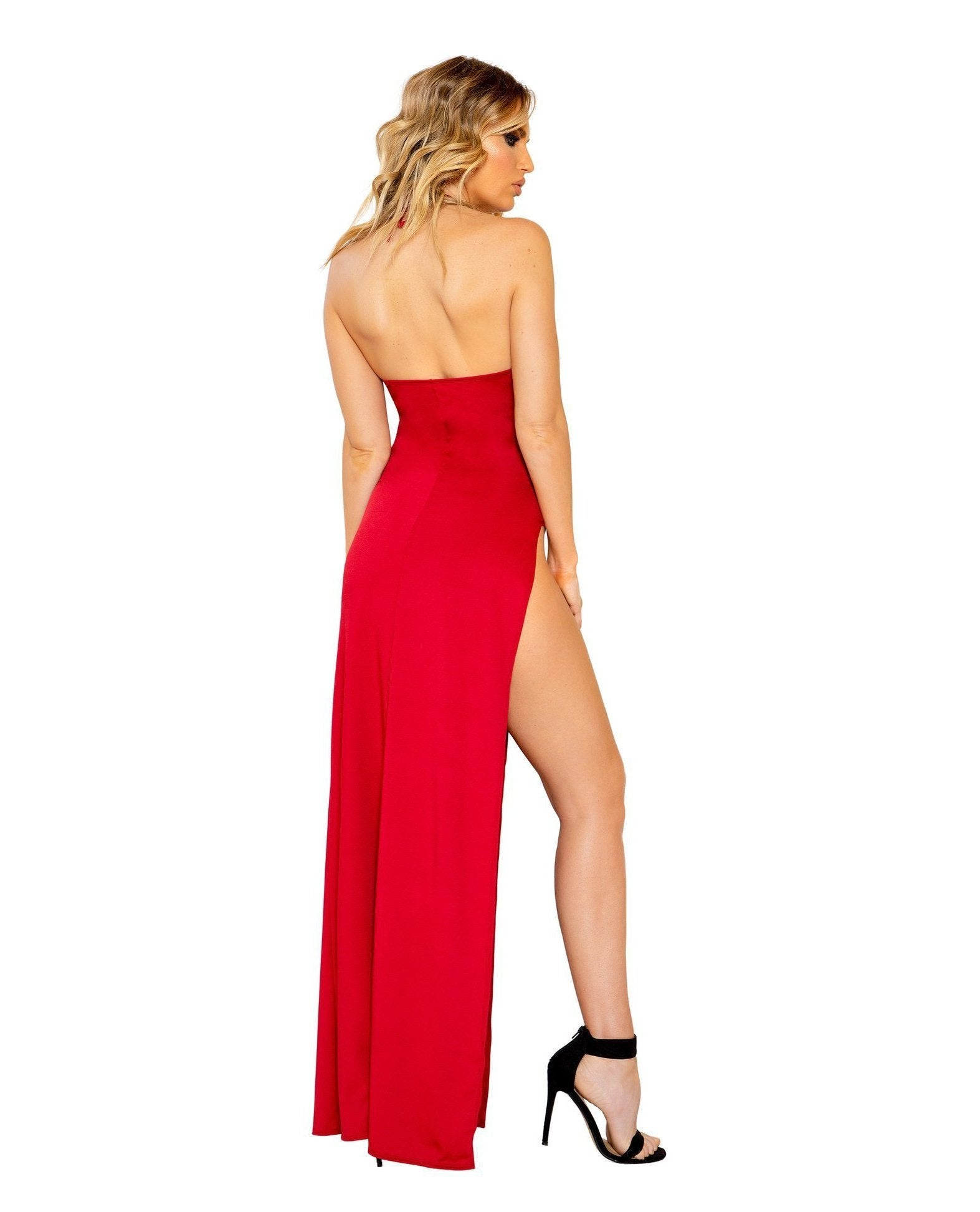 Maxi Length Dress with Deep V Detail and High Slit club wear Size SmallColor RedNakees