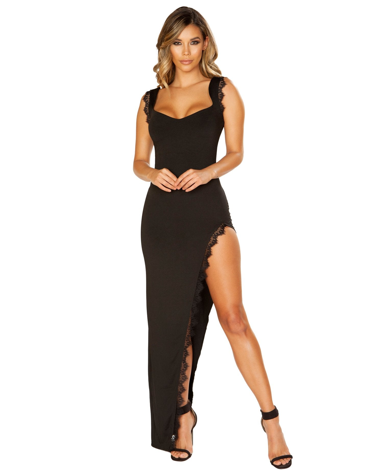 Maxi Length Dress with High Slit and Eyelash Lace Trim-club wear-Roma Costume-black-small-Nakees