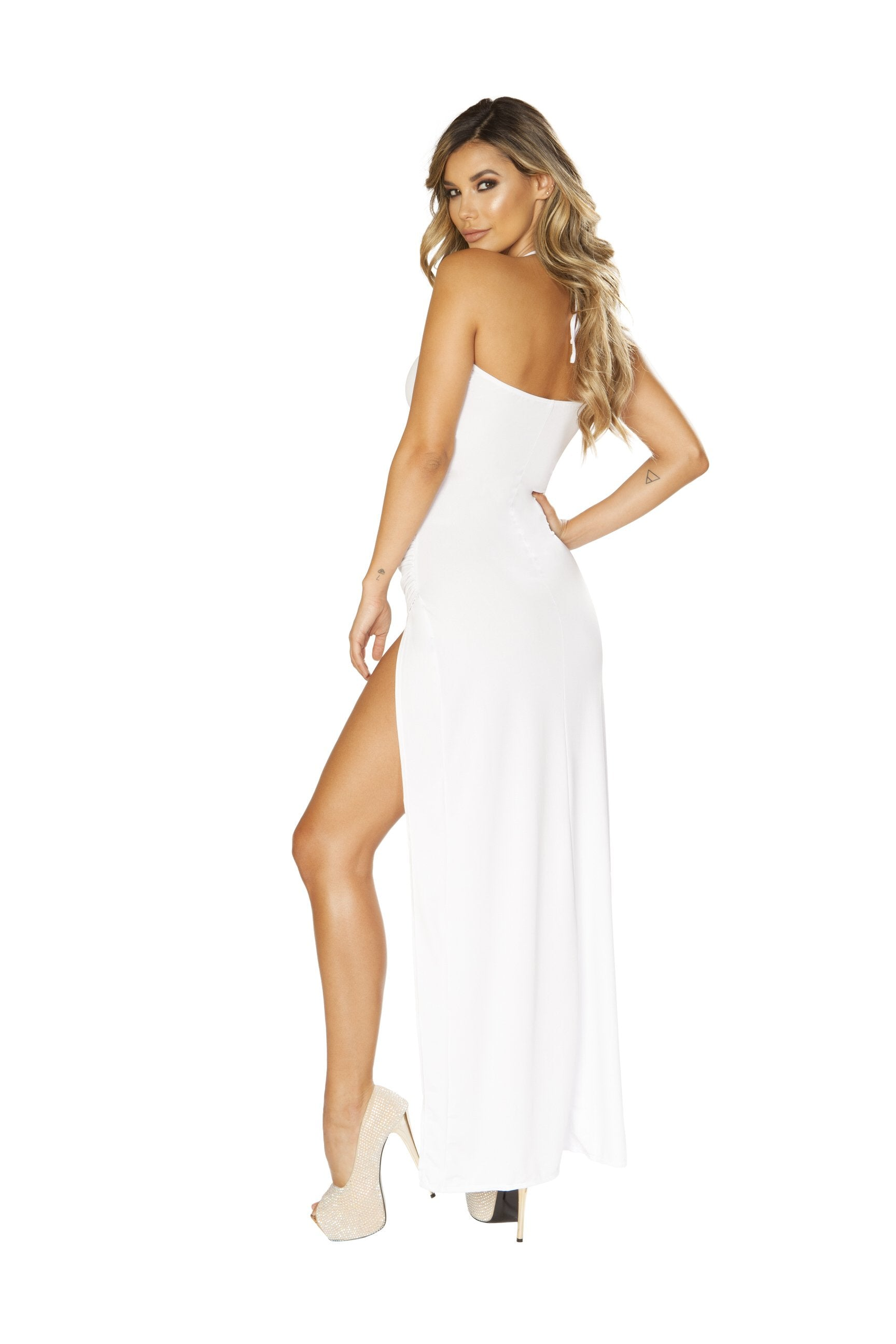 Maxi Length Dress with Overlapping Scrunch High Slit club wear color whitesize smallNakees