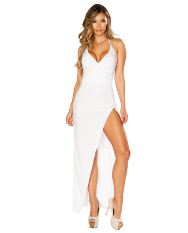 Maxi Length Dress with Overlapping Scrunch High Slit-club wear-Roma Costume-white-small-Nakees