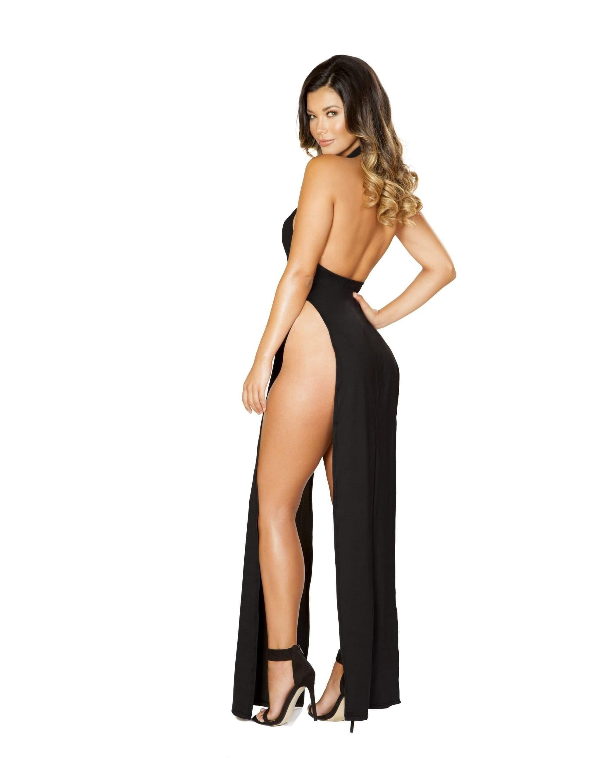 Maxi Length Halter Neck Dress with High Slits-club wear-Roma Costume-Nakees