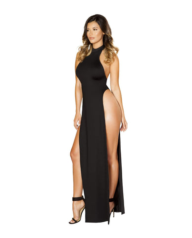 Maxi Length Halter Neck Dress with High Slits-club wear-Roma Costume-Black-Large-Nakees