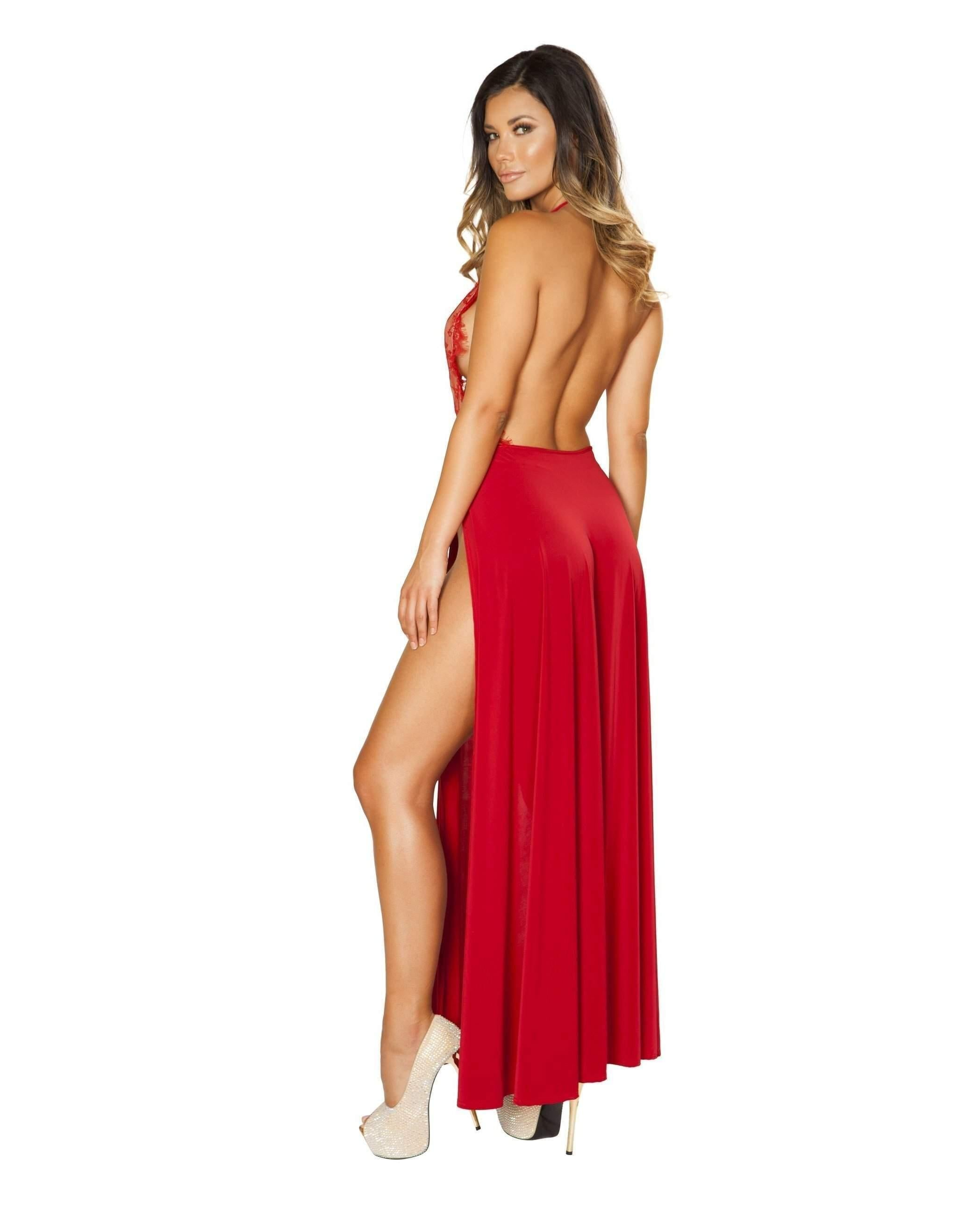 Maxi Length High Slit Dress with Eyelash Lace Detail club wear color RedSize LargeNakees