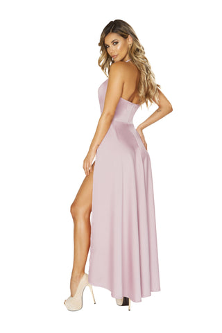 Maxi Length Pink Satin Dress with High Slits-club wear-Roma Costume-Nakees