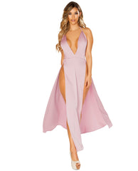Maxi Length Pink Satin Dress with High Slits-club wear-Roma Costume-pink-small-Nakees