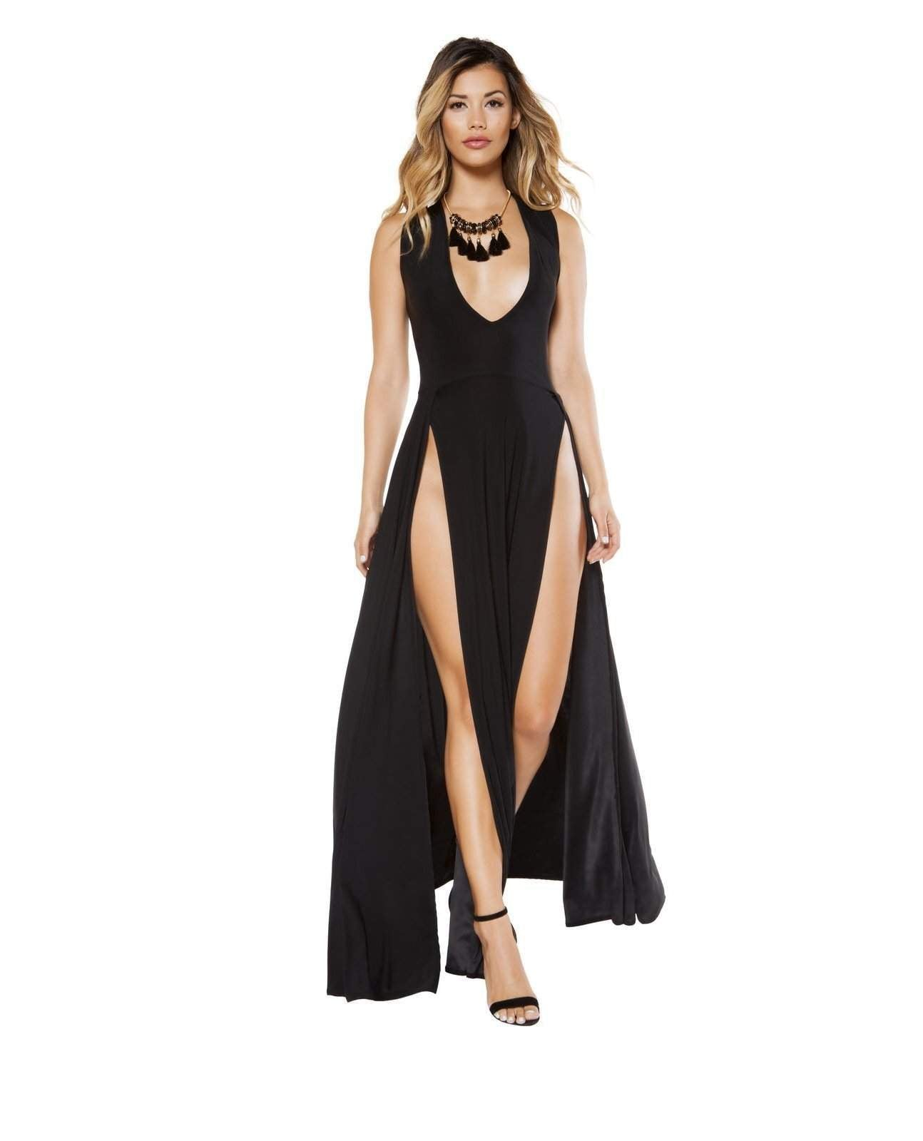 Maxi Length Plunge Neck Dress club wear color BlackSize LargeNakees