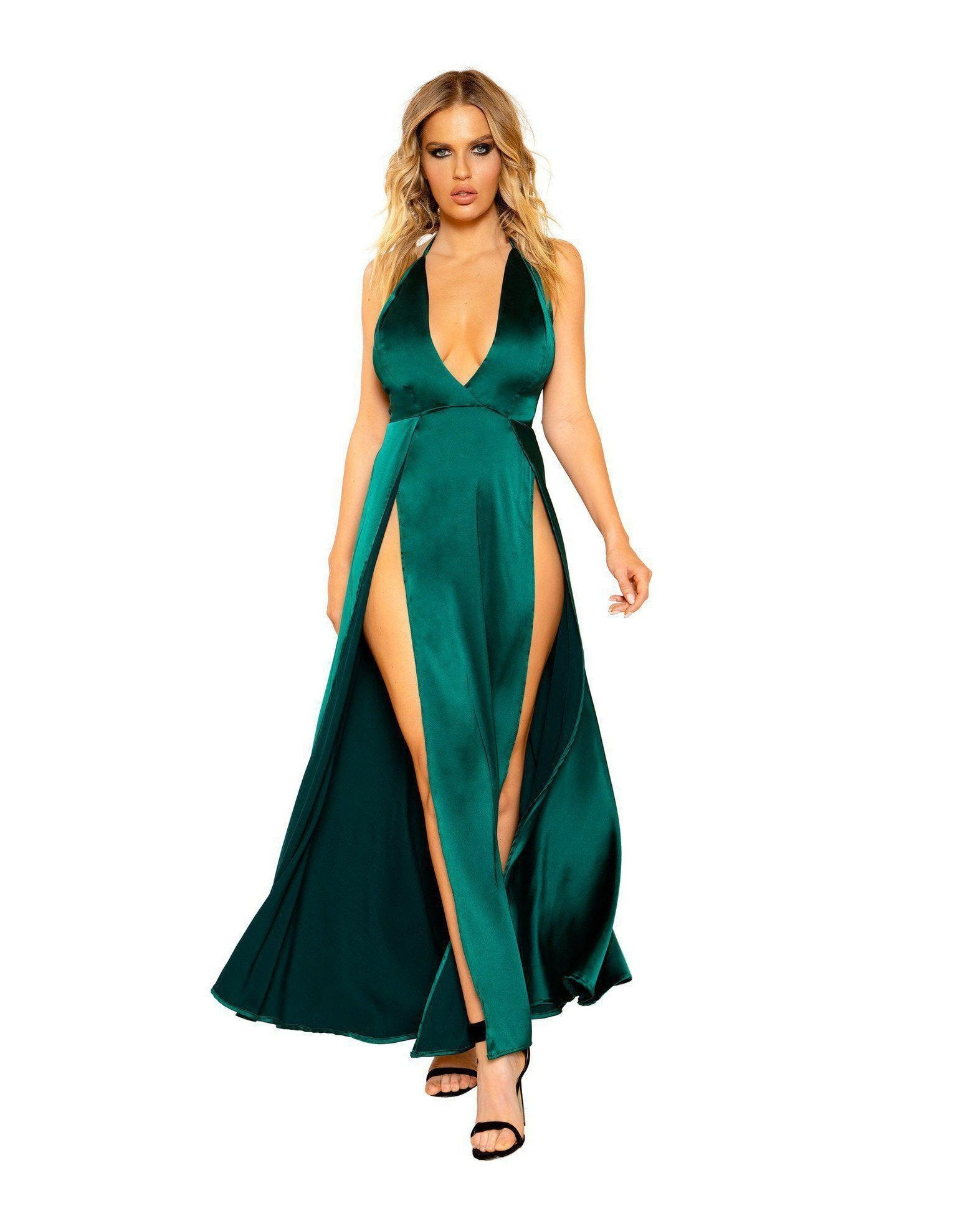 Maxi Length Satin Dress with High Slits and Deep Cut club wear Size SmallColor Emerald GreenNakees