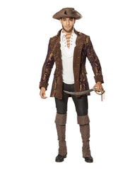Mens Pirate Jacket-costumes-Roma Costume-Large-Brown/Purple-Nakees