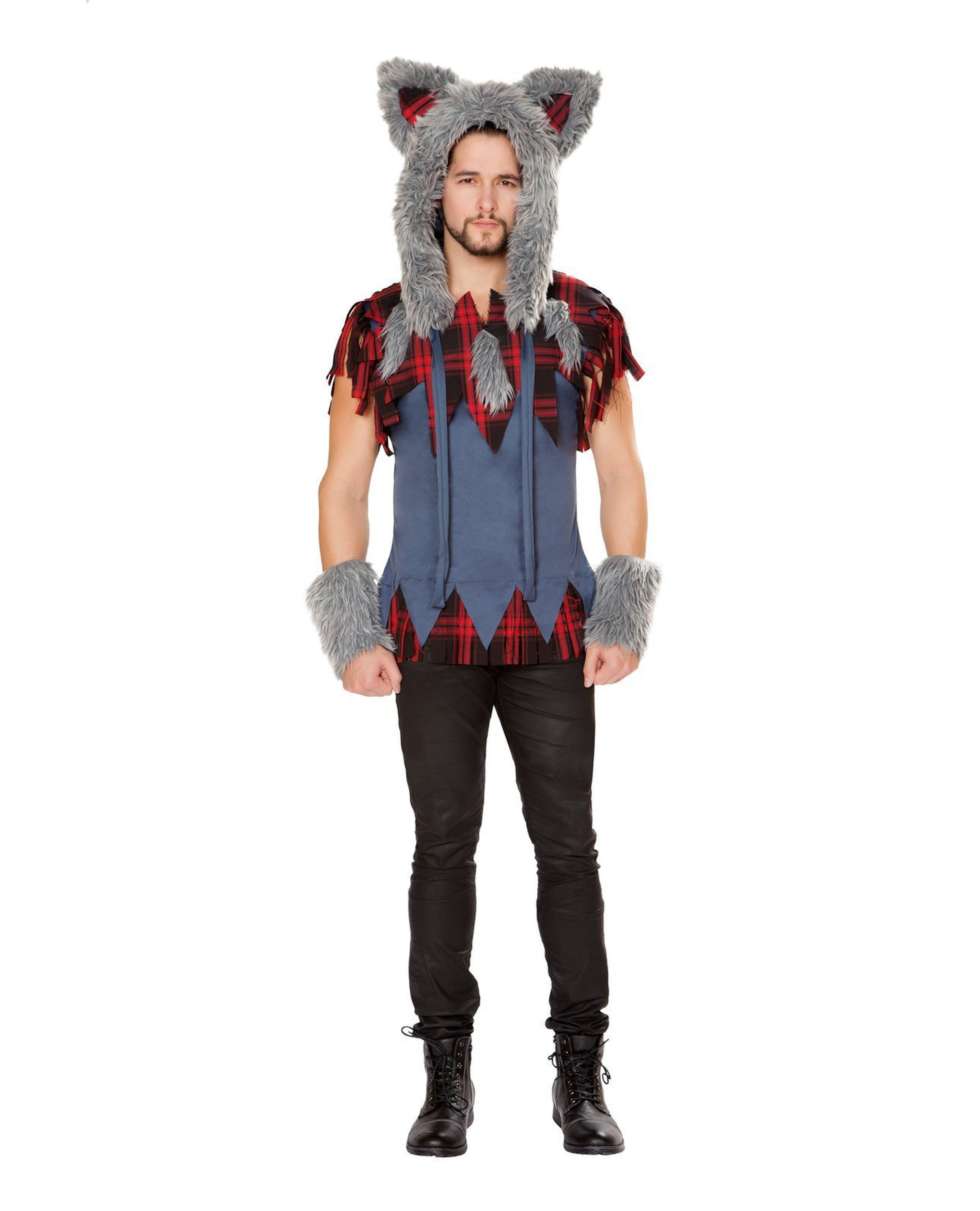Men's Wolf costumes Size SmallColor Grey/Black/RedNakees