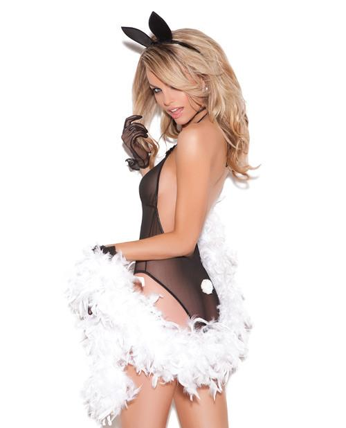 Mesh Teddy with Bunny Ears and Bowtie-women-Elegant Moments-one size-black-Nakees
