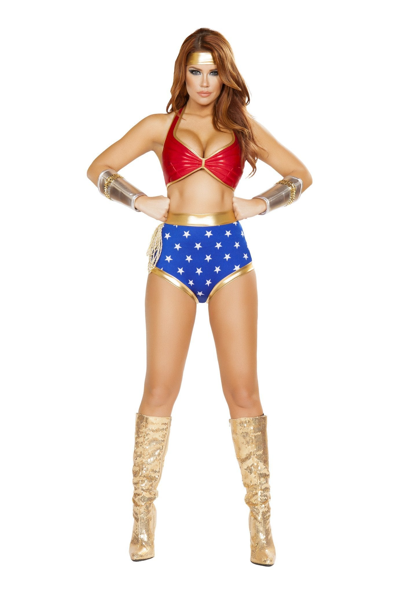 Mighty Comic Hero costumes Size LargeColor Red/Gold/BlueNakees