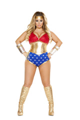 Mighty Comic Hero-costumes-Roma Costume-XL-Red/Gold/Blue-Nakees