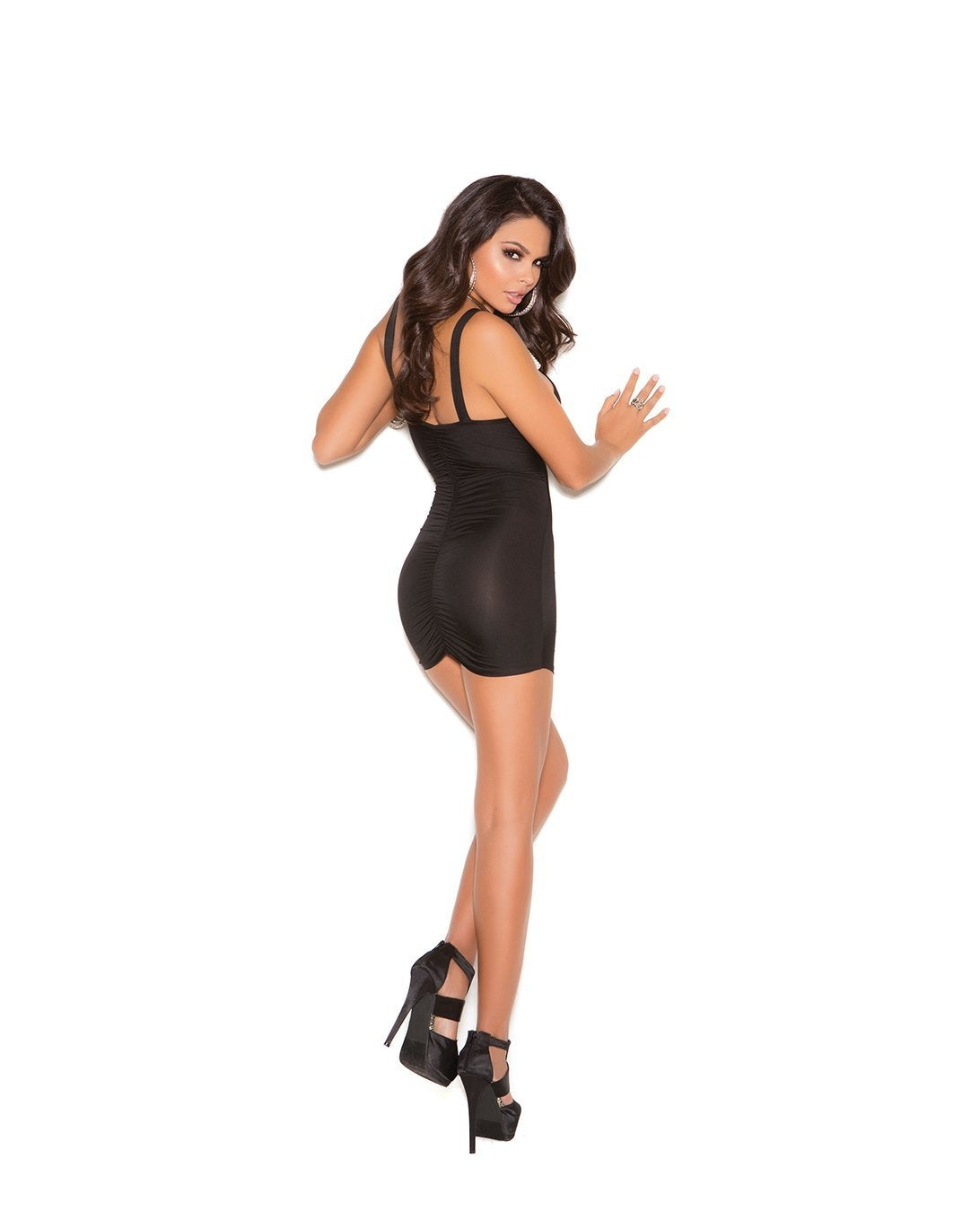 Mini Club Dress with Front and Back Ruching-club wear-Elegant Moments-Nakees