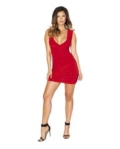 Mini Dress with Front Scrunch Detail club wear Size small color red Nakees