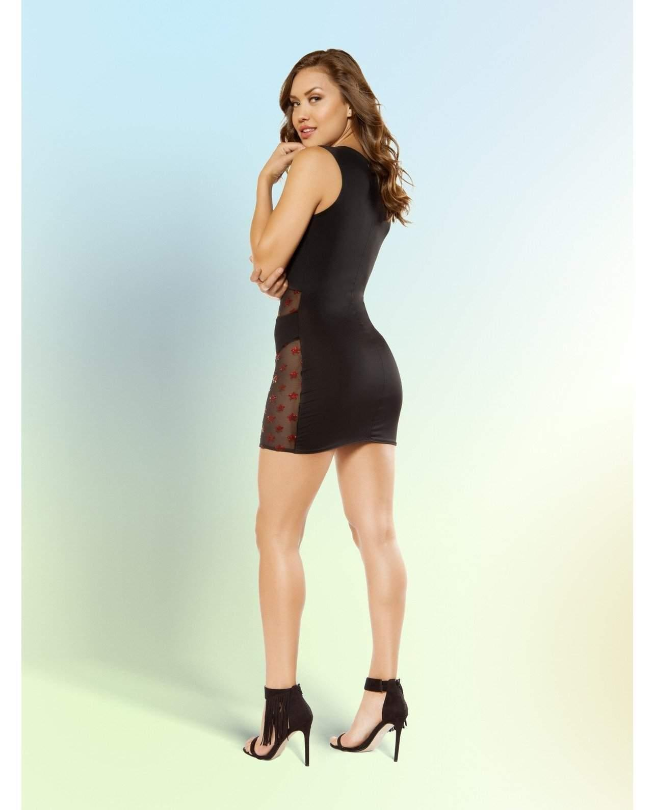 Mini Dress with Glitter Mesh Panels-club wear-Roma Costume-Nakees