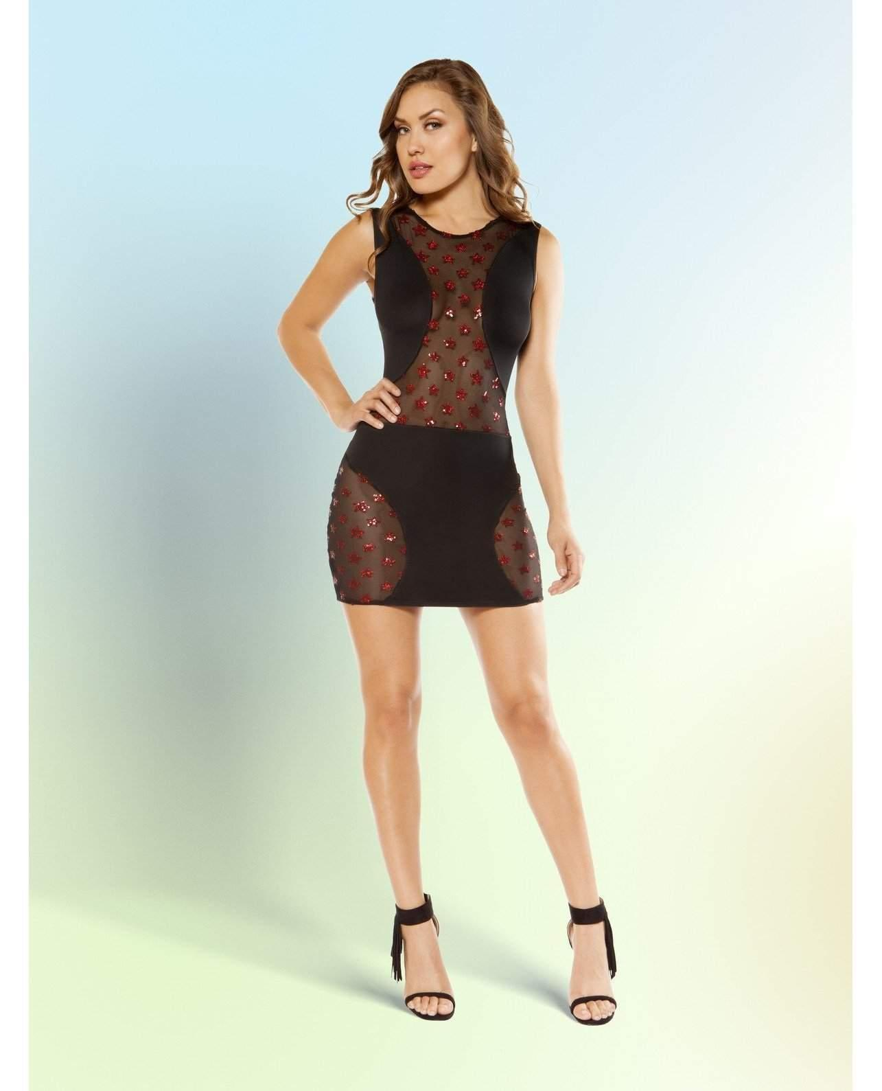 Mini Dress with Glitter Mesh Panels-club wear-Roma Costume-Small-Black-Nakees