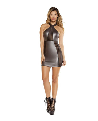 Mini Dress with Pinstripe Sheer Panels-club wear-Roma Costume-Nakees