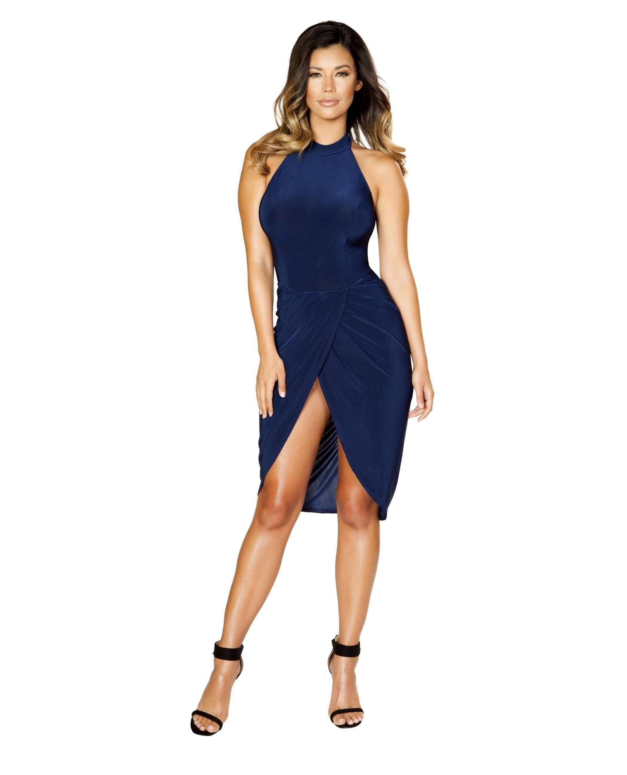 Mini Halter Neck Dress with Front Scrunch Detail-club wear-Roma Costume-small-blue-Nakees