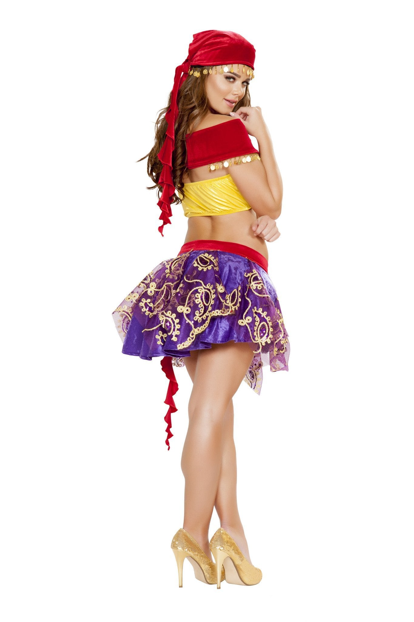 Mischievous Gypsy costumes Size LargeColor Red/Purple/YellowNakees