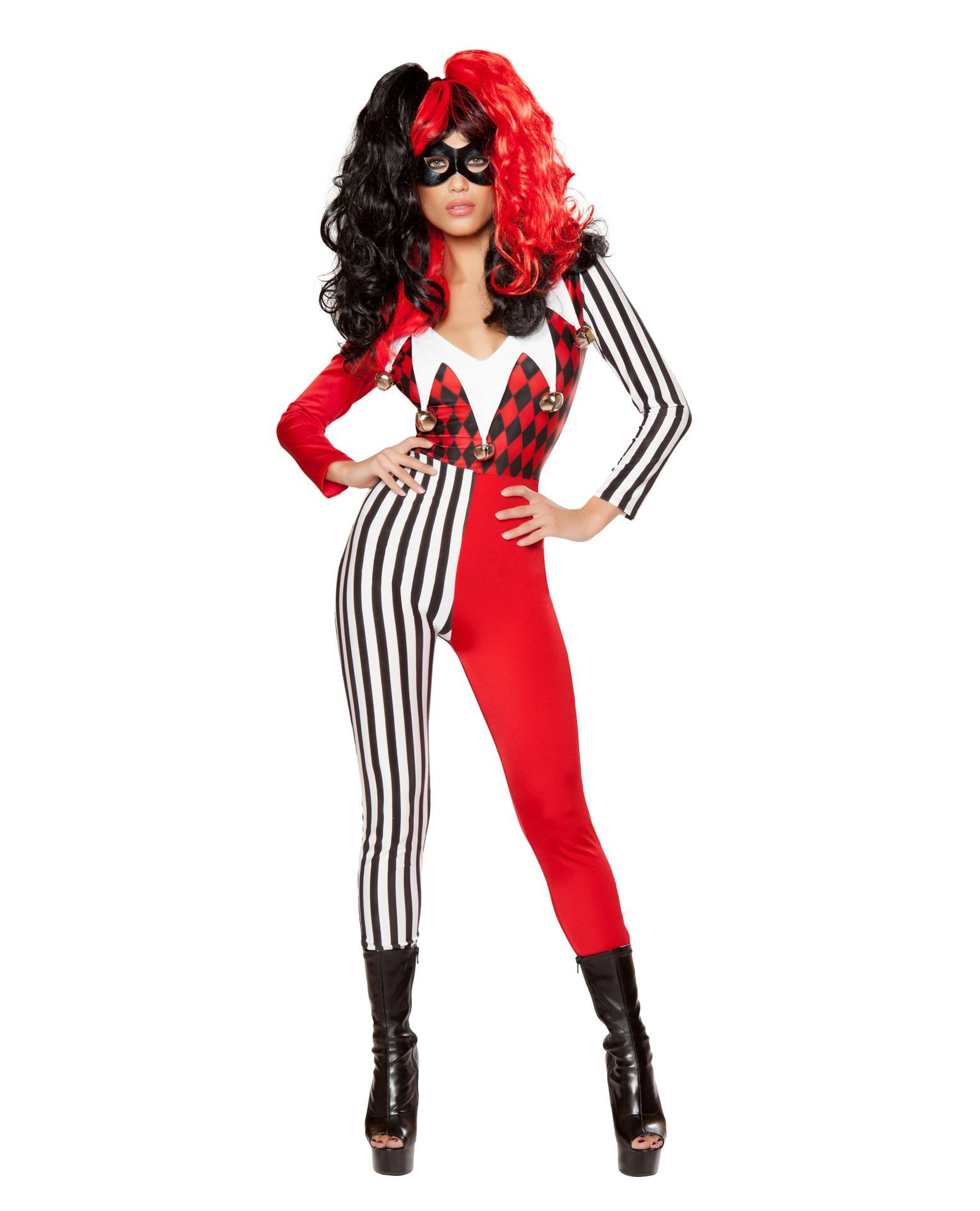 Mischievous Jester costumes Size SmallColor White/Red/BlackNakees