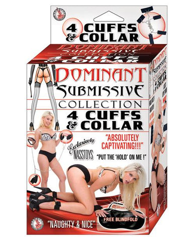 Nasstoys Dominant Submissive Collection 4 Cuffs & Collar Bondage Set-sex toys-Dominant Submissive-Nakees