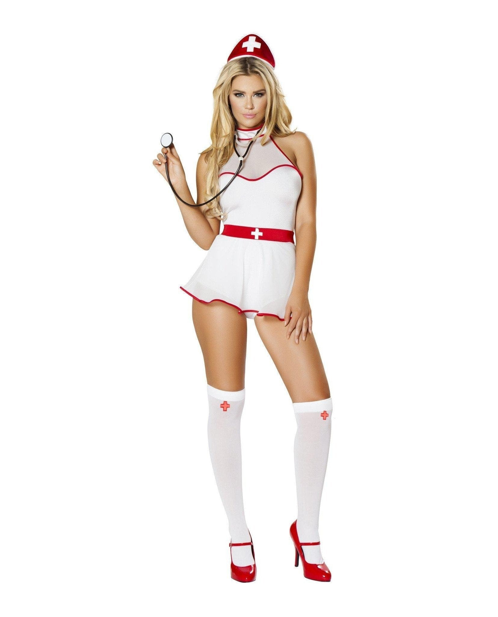 Naughty Nurse Nightingale Costume-Costumes-Roma Costume-M/L-White/Red-Nakees