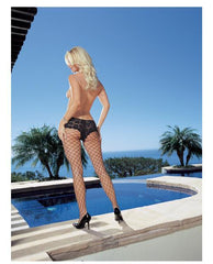 Net Pantyhose with Cheeky Lace Top Boy Shorts-lingerie-Dreamgirl-black-one size-Nakees