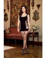 Opaque and Fence Net Garter Dress with Attached Thigh High Stockings-lingerie-Dreamgirl-Nakees