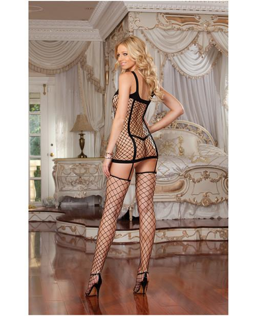 Opaque and Fence Net Garter Dress with Attached Thigh High Stockings lingerie size one sizecolor blackNakees
