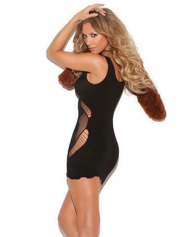 Opaque Seamless Floral Mini Dress-club wear-Elegant Moments-one size-black-Nakees