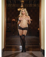 Opaque Thigh Highs with Satin Bow-lingerie-Dreamgirl-Nakees