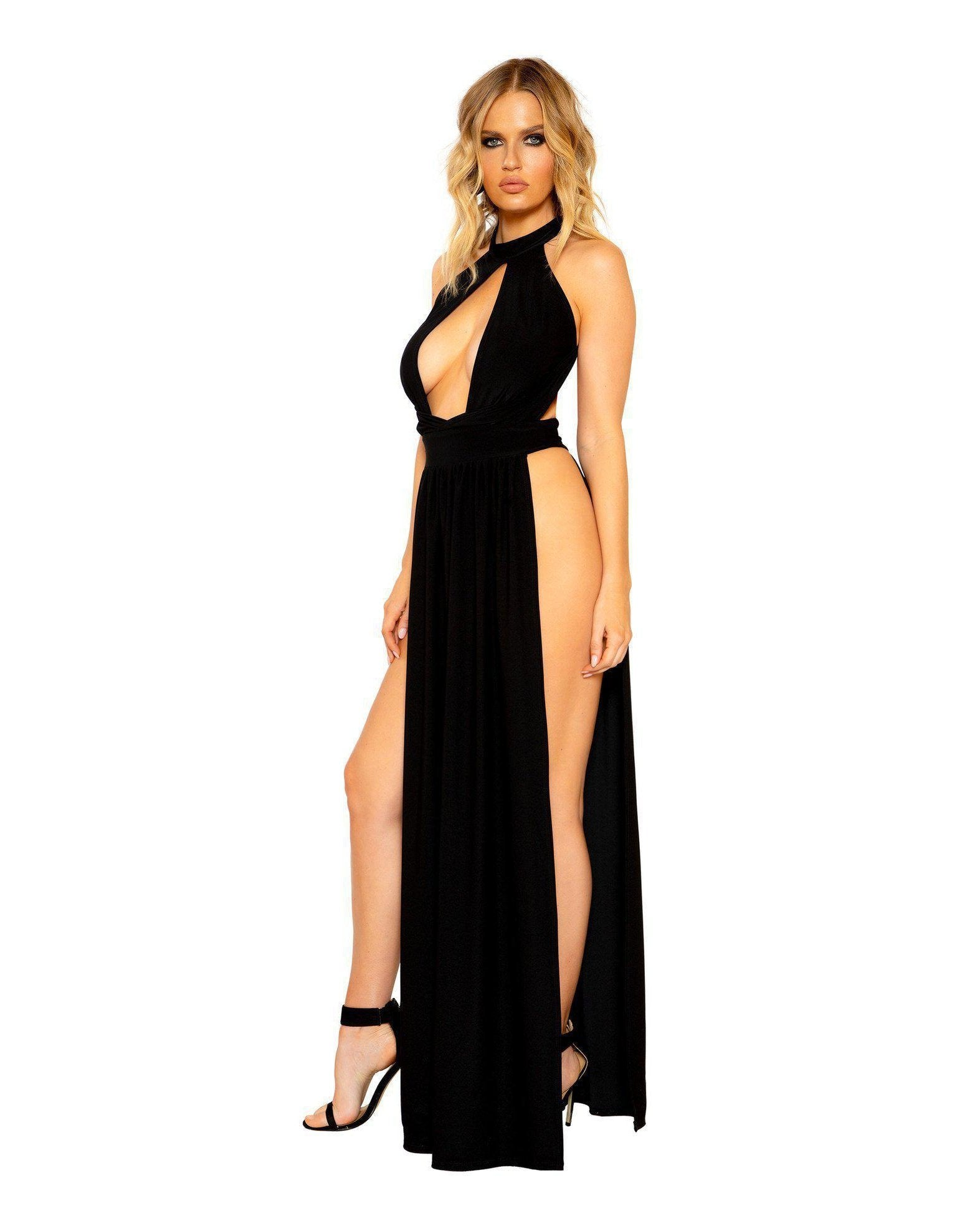 Open Leg and Large Cutout Maxi Length Dress club wear Size SmallColor BlackNakees