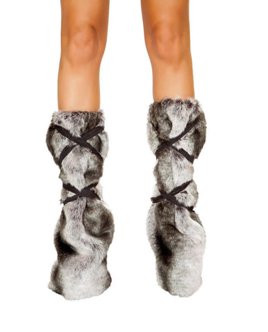 Pair of Strappy Leg Warmers-Costumes, accessories-Roma Costume-One Size-Grey-Nakees