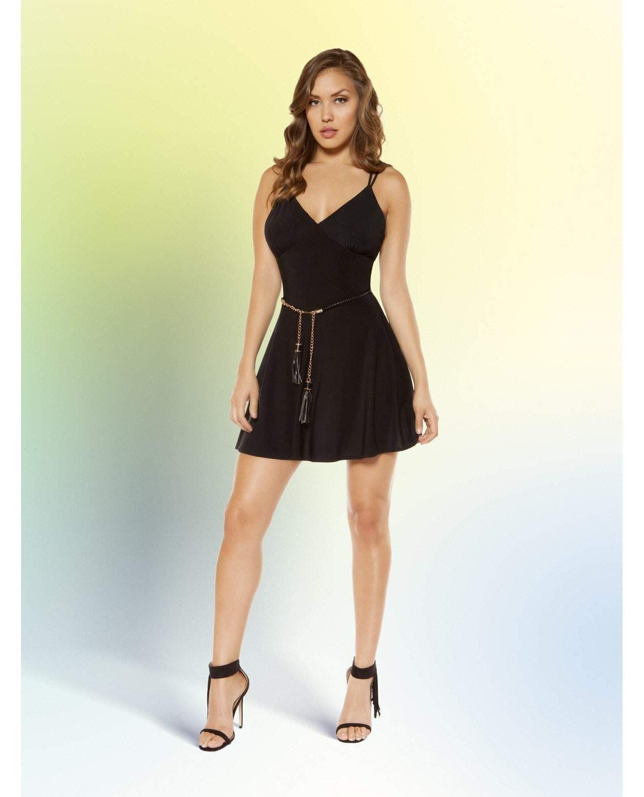 Partially Lined V-Neck Flared Mini Dress with Strappy Back Design club wear size smallcolor blackNakees