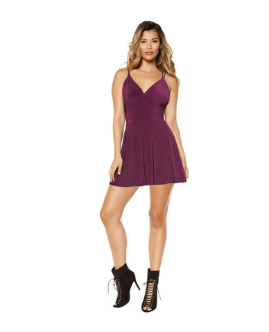 Partially Lined V-Neck Flared Mini Dress with Strappy Back Design-club wear-Roma Costume-Nakees