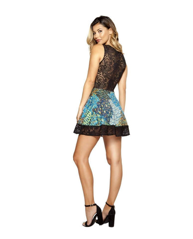 Peacock Printed Flare Dress with Lace-club wear-Roma Costume-Nakees