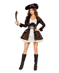 Pirate Beauty Costume-Costumes-Roma Costume-Large-Brown/Ivory/Black-Nakees
