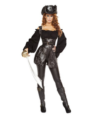 Pirate of the Night-costumes-Roma Costume-Large-Black/Silver-Nakees
