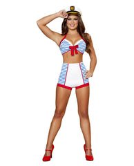Playful Pinup Sailor costumes Color Blue/WhiteSize S/MNakees