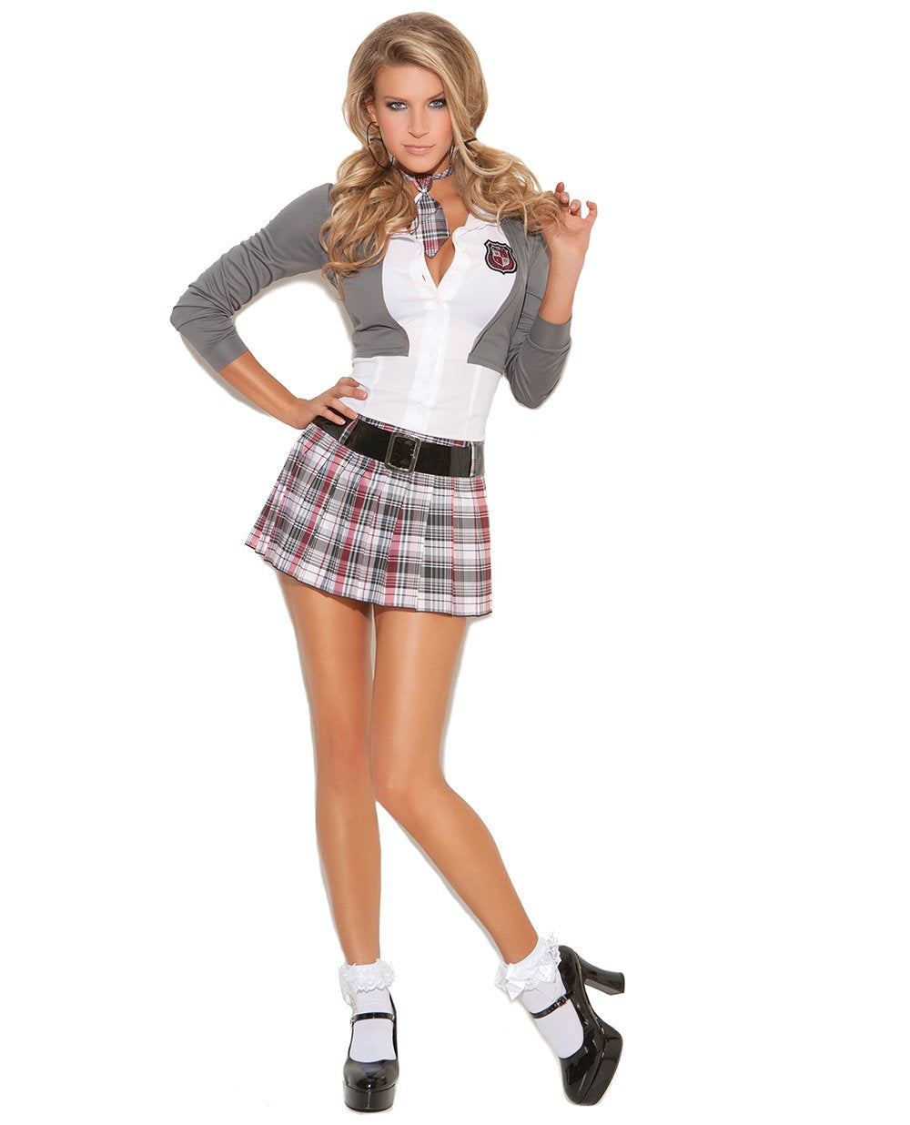 Queen of Detention Naughty School Girl Outfit costumes size mediumcolor grey/whiteNakees