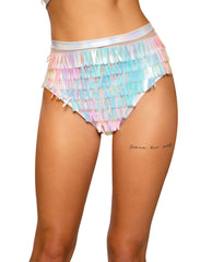 Raindrop Sequin & Shimmer High-Waisted Shorts bottoms Size SmallColor WhiteNakees