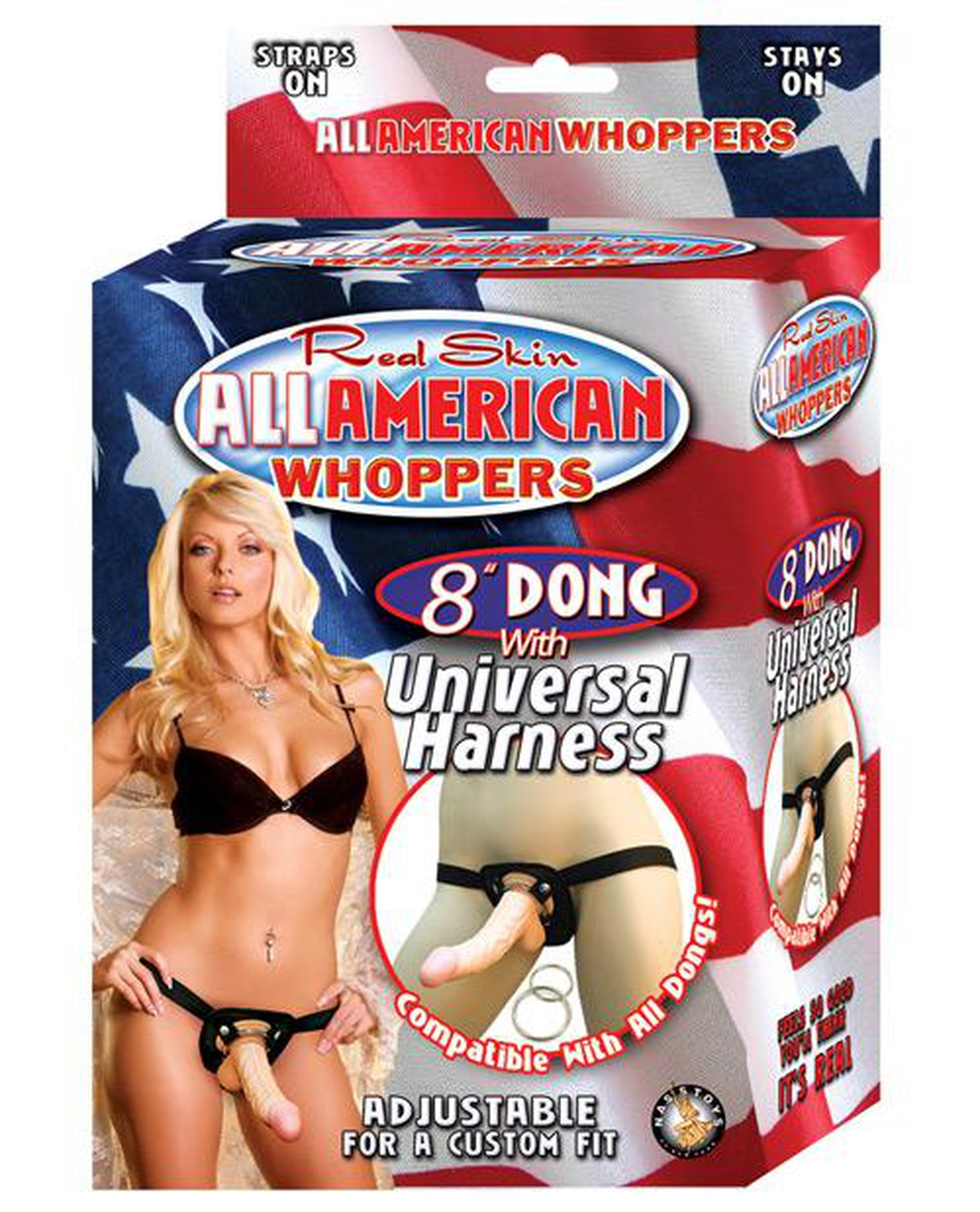 "Real Skin 8"" Dong All American Whoppers w/Universal Harness-dildo-Whoppers-Nakees"
