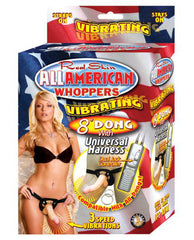 "Real Skin All American Whoppers Vibrating 8"" Dong w/Universal Harness-dildo-Whoppers-Nakees"