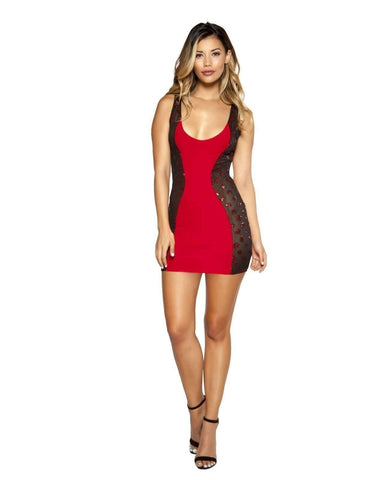 Red and Black Mini Dress with Mesh Sides-club wear-Roma Costume-Small-Red/Black-Nakees