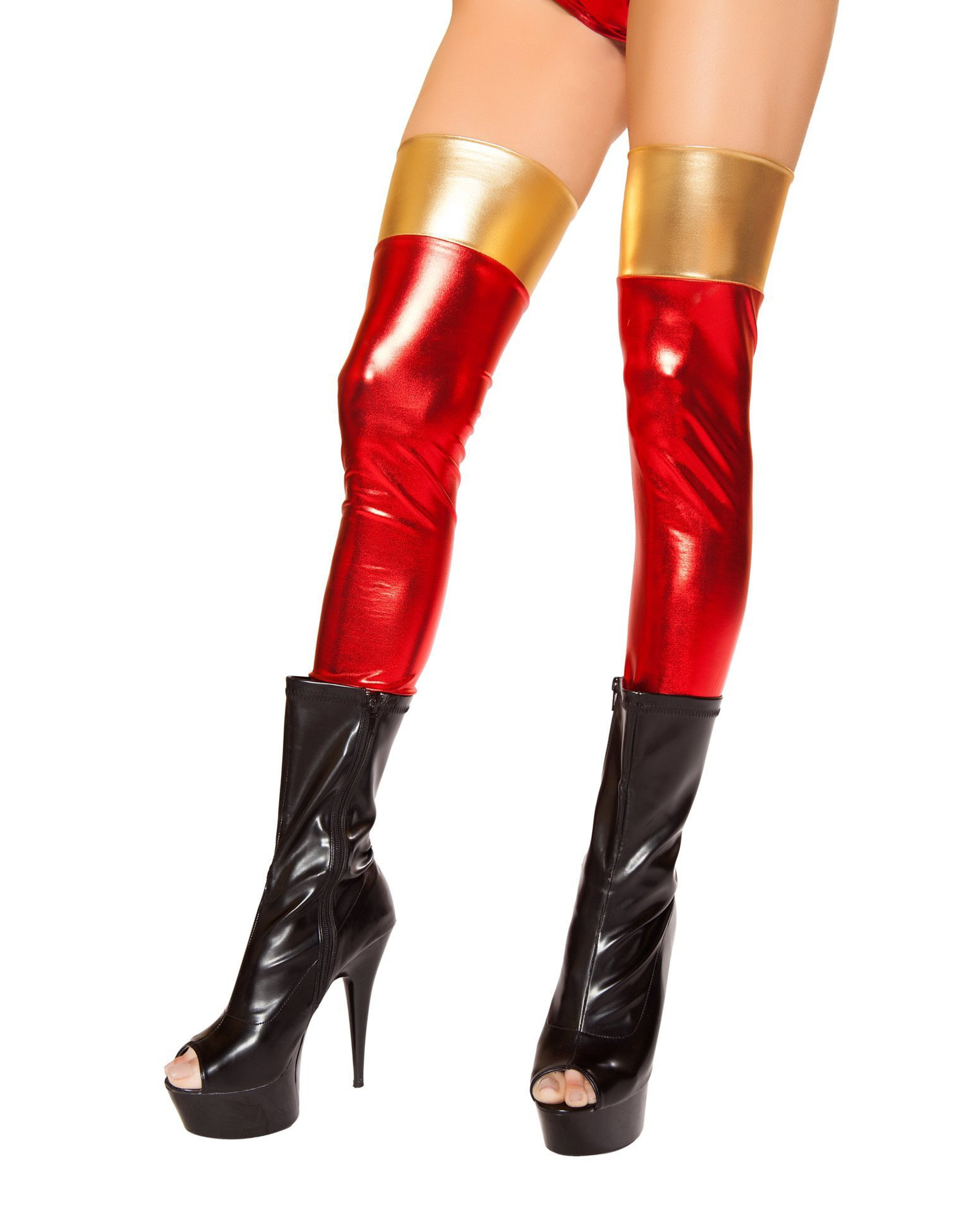 Red/Gold Leggings costumes Size One SizeColor Red/GoldNakees