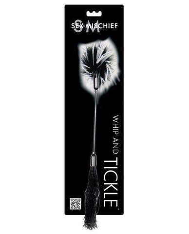 Rubber Whip and Feather Tickler sex toys color black/white  Nakees