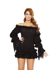 Ruffled Pirate Dress with Sleeves & Multi Layered Skirt costumes Size LargeColor BlackNakees