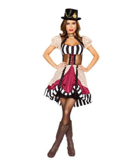 Sassy Steampunk-costumes-Roma Costume-Small-White/Black/Nude-Nakees