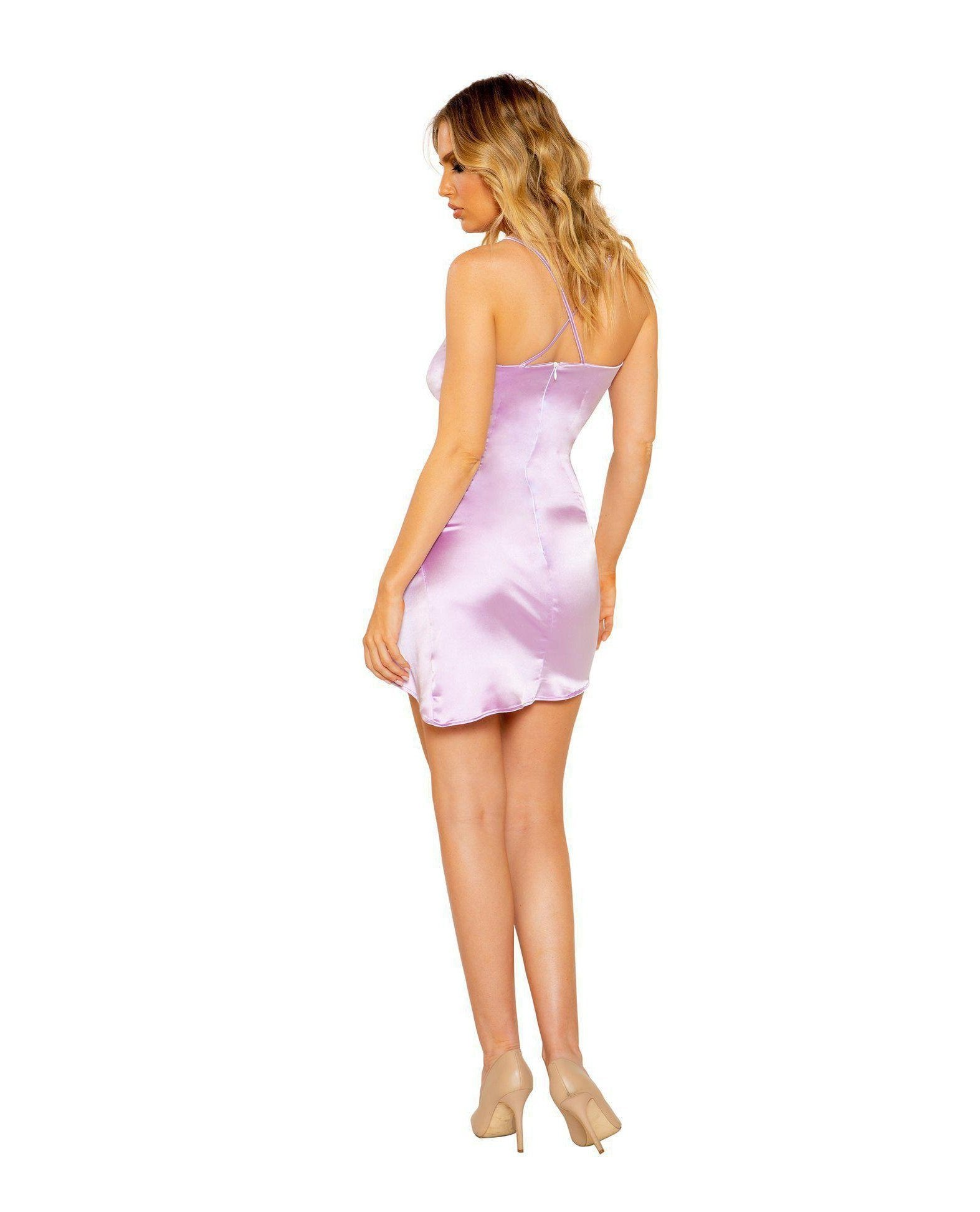 Satin Dress with Overlapping Scrunch Detail club wear Size SmallColor LavenderNakees